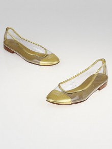 Chanel Gold Lame Leather Transparent Cap Toe Ballet Flats Size 6.5/37