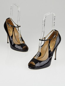 Valentino Black Patent Leather Ankle Strap Peep Toe Pumps Size 9.5/40