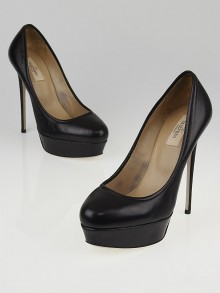 Valentino Black Leather Platform Pumps Size 8.5/39