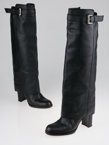Chanel Black Leather Buckle Tall Boots Size 8.5/39