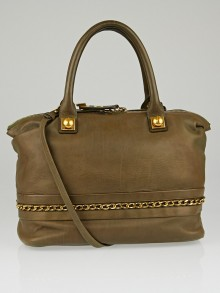 Chloe Khaki Leather Kira Medium Bowler Bag