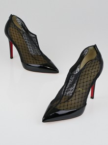 Christian Louboutin Black Mesh and Patent Leather Filette 100 Booties Size 7.5/38