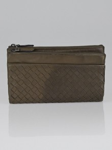 Bottega Veneta New Light Grey Intrecciato Woven Leather Bifold Wallet