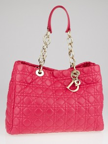 Christian Dior Fuchsia Cannage Quilted Lambskin Leather Dior Soft Shopping Tote Bag