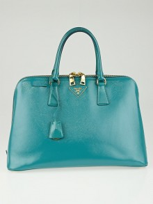 Prada Turchese Saffiano Vernice Leather Top Handle Bag BL0812