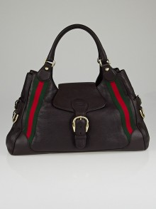 Gucci Brown Pebbled Leather Heritage Medium Shoulder Bag