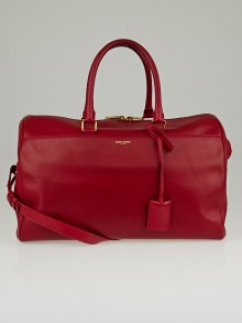Yves Saint Laurent Red Calfskin Leather Classic Duffle 12 Bag