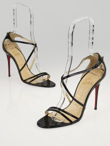 Christian Louboutin Black Patent Leather Gwynitta 100 Strappy Sandals Size 9.5/40
