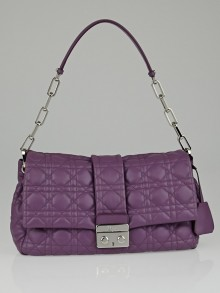 Christian Dior Purple Cannage Quilted Lambskin Leather New Lock Flap Bag