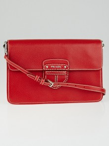 Prada Fuoco Cinghiale Leather Flap Messenger Bag BT0783
