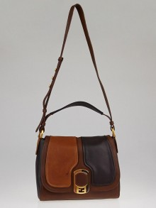 Fendi Brown Colorblock Leather Medium Anna Shoulder Bag