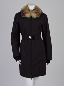 Prada Black Nylon Gore-Tex Fox Fur Trim Coat Size 10/44