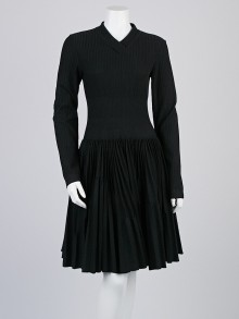 Alaïa Black Wool Blend Long Sleeve Pleated Plisse Soleil Dress Size 12/44
