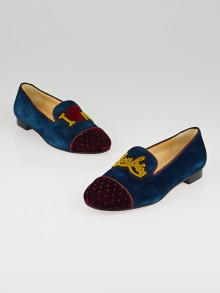 Christian Louboutin Blue Kohl Suede and Rouge Velvet I Love My Loubies Flat Loafers Size 5.5/36