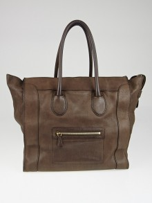 Celine Dark Brown Leather Medium Luggage Tote Bag