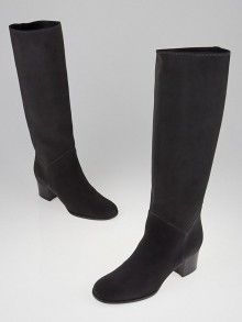Chanel Anthracite Suede Knee High Riding Boots Size 7.5/38C