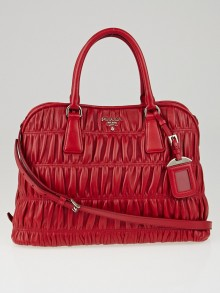 Prada Fuoco Nappa Gaufre Leather Double Handle Tote Bag B2588L