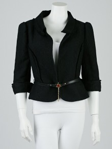 Fendi Black Polyester Blend Cropped Blazer Jacket Size 12/46