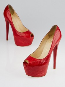 Christian Louboutin Rouge Lipstick Watersnake Lucido Highness 160 Pumps Size 7.5/38