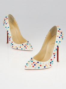 Christian Louboutin White Gomme Leather Pigalle Multicolor Spikes 120 Pumps Size 5.5/36