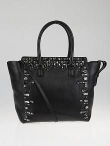 Valentino Black Leather Crystal-Embellished Double Handle Tote Bag