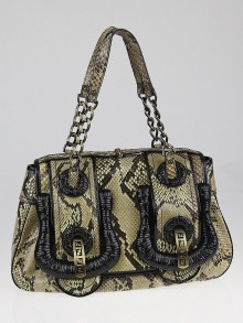 Fendi Beige/Black Python and Patent Leather B Bag