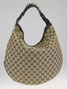Gucci Beige/Ebony GG Canvas Wave Horsebit Large Hobo Bag