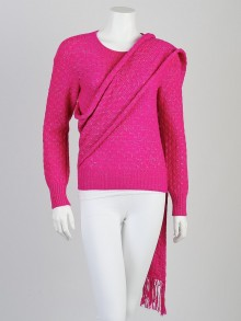 Chanel Rose/Argent Alpaca Knit Sweater and Scarf Size 4/38