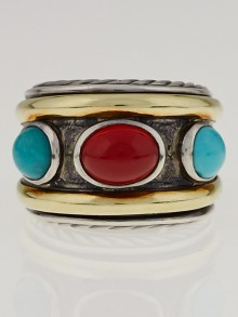 David Yurman Sterling Silver Carnelian and Turquoise Renaissance Ring Size 7