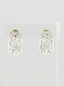 David Yurman Sterling Silver and Diamond Tapestry J Hoop Earrings