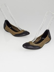 Hermes Etoupe and Black Box Leather Brogue Carina Ballet Flats Size 6.5/37