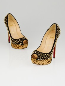 Christian Louboutin Black Suede Leopard Pony Hair Lady Peep Spikes 150 Pumps Size 6.5/37