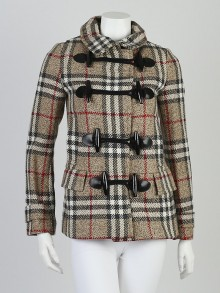 Burberry London House Check Wool Toggle Coat Size 2