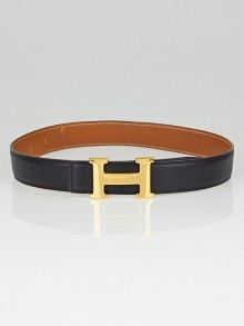 Hermes 32mm Black Box / Gold Courchevel Leather Gold Plated Constance H Belt Size 70