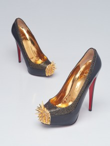 Christian Louboutin Black/Gold Lady Glitter Asteroid 160 Pumps Size 10/40.5