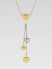 Tiffany & Co. 18k Yellow and White Gold Multi-Heart Drop Pendant Necklace