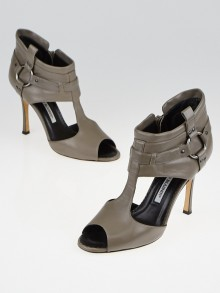Manolo Blahnik Grey Leather T-Strap Peep Toe Booties Size 6/36.5