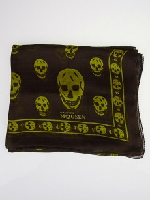 Alexander McQueen Brown/Olive Silk Chiffon Classic Skull Scarf
