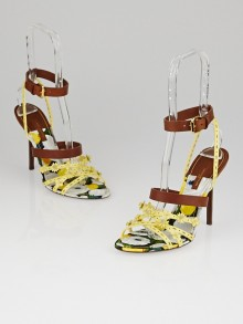 Louis Vuitton Yellow Patent Leather Flower Fields Sandals Size 8.5/39