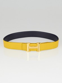 Hermes 32mm Yellow Courchevel/Navy Blue Box Leather Gold Plated Constance H Belt Size 70
