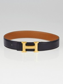 Hermes 32mm Black Box/Gold Courchevel Leather Gold Plated Constance H Belt Size 60