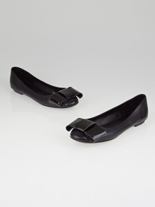 Louis Vuitton Black Leather Bow Ballerina Flats Size 8.5/39