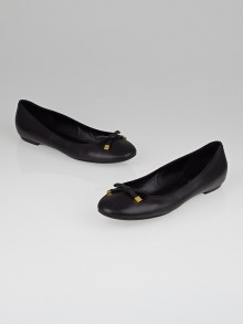 Louis Vuitton Black Leather Bow Ballerina Flats Size 9/39.5