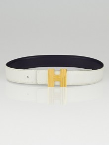 Hermes 32cm White Togo / Navy Box Leather Gold Plated Cadena H Belt Size 65