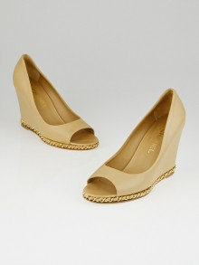 Chanel Beige Lambskin Leather Chain Peep-Toe Wedges Size 9.5/40