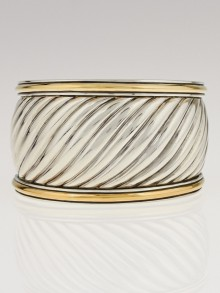 David Yurman Sterling Silver and 18k Gold Sculpted Cable Cuff Bracelet