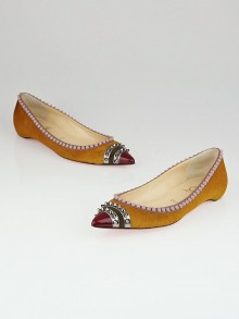 Christian Louboutin Cognac Calf Hair Spiked Malabar Hill Pointed Toe Flats Size 8.5/39
