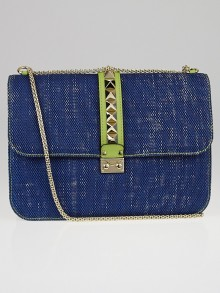 Valentino Blue Denim Rockstud Glam Lock XL Flap Bag