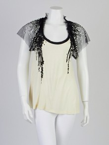 Valentino Cream Viscose Sequin-Embellished Jersey Top Size 8