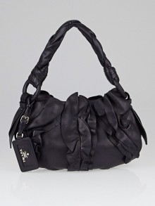 Prada Black Nappa Leather Ruffle Shoulder Bag BR4005